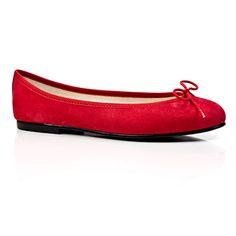 London Sole Nubuck red ballet flats