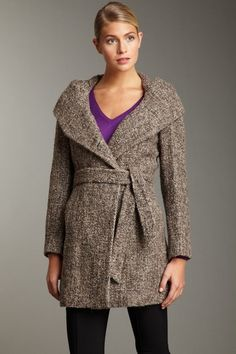 Calvin Klein  Tweed Hooded Shawl Collar Coat
