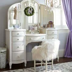 vanity set for teenager. I BIT over budget and know it s a PB teen  but love southern curls pearls Prettiest vanity ve always