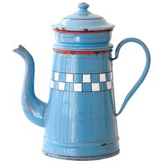 Vintage French Small Blue Enamel Coffee Pot - Lustucru Checkered Pattern - Art Deco 1920s