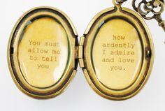 Jane Austen Necklace - Women's Locket - Mr. Darcy - Pride and Prejudice - You must allow me to tell you how ardently I admire and love you on Etsy, $32.00