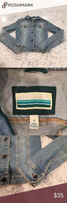 Hollister Jean jacket Hollister Jean jacket, size small, light wash, in great condition, has one tiny stain (see picture). Aqua stitching on pockets. Hollister Jackets & Coats Jean Jackets