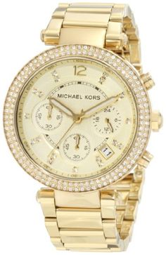 Michael Kors Women's 'Parker' Yellow Gold Stainless Steel Watch - Overstock™ Shopping - Big Discounts on Michael Kors Women's Watches Michael Kors Outlet, Sac Michael Kors, Handbags Michael Kors, Stainless Steel Watch, Stainless Steel Bracelet, Michael Kors Chronograph, Bling Bling, Marken Outlet, Mk Handbags