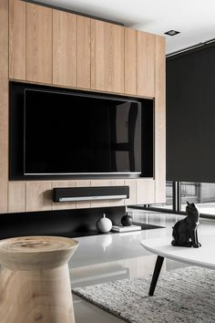 ♡ by Swissroc Living Room Tv, Living Room Interior, Home And Living, Living Spaces, Tv Wall Design, House Design, Tv Feature Wall, Tv Wall Cabinets, Muebles Living