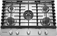 """KitchenAid - 30"""" Built-In Gas Cooktop - Stainless Steel (Silver)"""