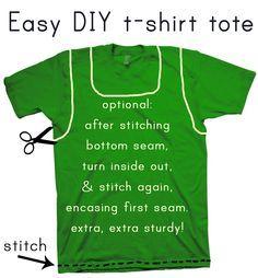 Transformer mes vieux T-shirts en sac, ça va me permettre de les garder, alors que je ne les porte plus...