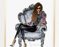 Mode illustratie afdrukken grijze Ballskirt van anumt op Etsy