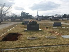 Harper Lee's casket was taken by silver hearse to the cemetery adjacent to the First United Methodist Church in Monroeville, Alabama where her father, AC Lee and sister, Alice Lee, are also buried. This photo shows her freshly filled in grave on the left.