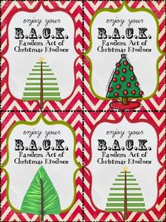 RACK Random Acts of Christmas Kindness - tags FREEBIE