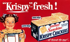 Krispy Crackers - 1954.  This girl REALLY likes her saltines.