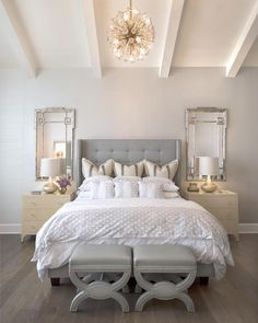 Sharing inspiration for farmhouse style bedroom decor ideas. Everything from rustic farmhouse bedroom decor to vintage, boho, moroccan, eclectic styles and more! Glam Master Bedroom, Home Decor Bedroom, Bedroom Ideas, Painting Trim, Moon Painting, Modern Farmhouse Bedroom, Glam Living Room, Luxury Living, Living Room Designs