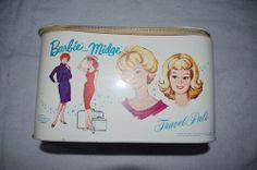 "Nice!!! Vtg 1963 Mattel BARBIE & MIDGE White Vinyl ""TRAVEL PALS"" TRAIN CASE Tote"