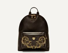 BKDailyNewz : VERSACE – BLACK LEATHER GOLD STUD BACKPACK