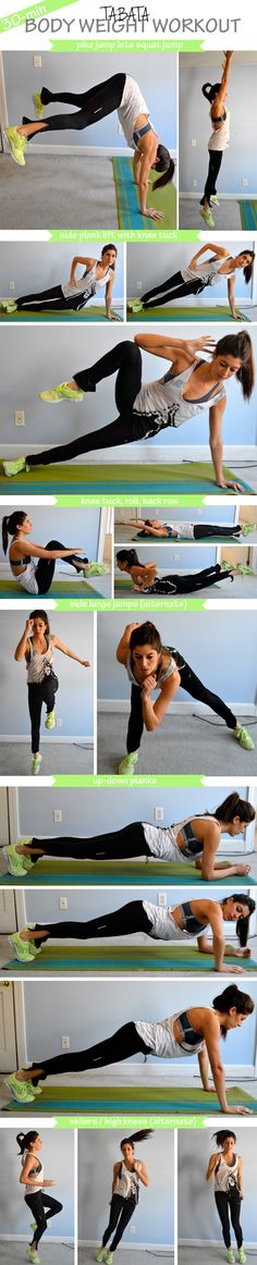 30-minute body weight tabata workout. No equipment needed!