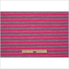 Gray and Fuchsia Striped Wool-Blend Jersey Fabric by the Yard | Mood Fabrics