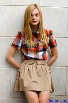 Elle Fanning - button down shirt and brown skirt
