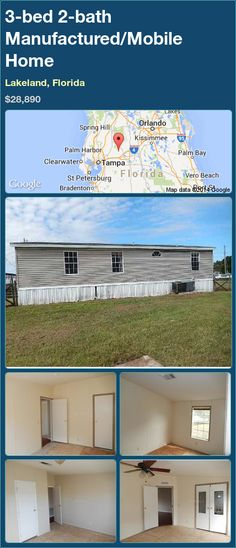 3-bed 2-bath Manufactured/Mobile Home in Lakeland, Florida ►$28,890.00 #PropertyForSale #RealEstate #Florida http://florida-magic.com/properties/79671-manufactured-mobile-home-for-sale-in-lakeland-florida-with-3-bedroom-2-bathroom