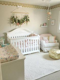Nursery, baby girl nursery, blush and gold nursery, flower mobile, diy nursery…