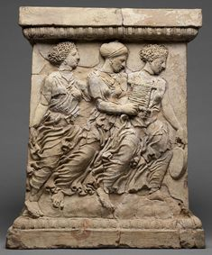 Pair of altars depicting the death of Adonis. Possibly from Taras (Tarentum), Apulia, South Italy. Greek, 4th century B.C. Terracotta. J. Paul Getty Museum.