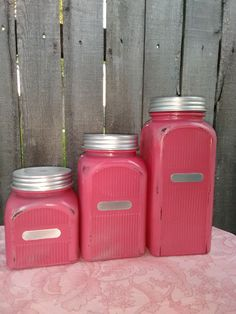 Ribbed Glass 3 Piece Canister Set in Distressed  Watermelon  #Mason