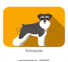 Schnauzer, dog standing flat icon design - stock vector