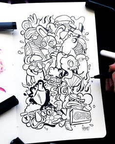Sharpie Drawings, Cool Art Drawings, Doodle Drawings, Art Sketches, Tattoo Drawings, Doodle Inspiration, Doodle Ideas, Vexx Art, Doddle Art
