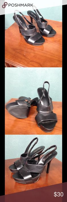 Nine West Sexy Heels! Size 7 Black Nine West Slingback heels. Super sexy high heels! Excellent condition. No buckles to fuss over, just easy to slip foot into this open toe slingback with stretchy band in the back. Nine West Shoes Heels