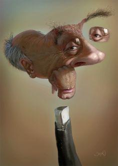 """http://www.tutoriart.com.br/caricaturas-desconstruidas-de-bruno-hamzagic/ Caricaturas """"desconstruídas"""" de Bruno Hamzagic  Misturando técnicas de 2D e 3D, Bruno Hamzagic tem um sólido portfólio cheio de caricaturas fantásticas."""