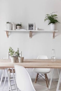 T.D.C | White + Wood | from http://www.thedesignchaser.com/2014/07/interior-styling-white-wood.html Similar chair: the Truman Dining chair in White ||