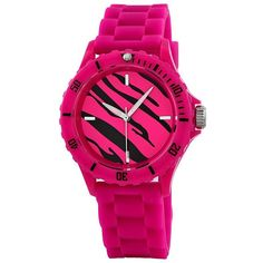 """Breda Women's 2196-Pink """"Maya"""" Zebra Sport Jelly Watch"" ($24) ❤ liked on Polyvore featuring jewelry, watches, accessories, bracelets, relogios, sports wrist watch, sport jewelry, sports watches, sport watches and jelly watches"