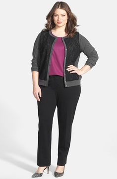Vince Camuto Plus Lace Panel Cardigan - chic + modern business casual