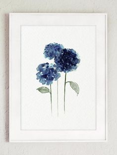 Hydrangea Flowers Painting Navy Blue Watercolor Art Print
