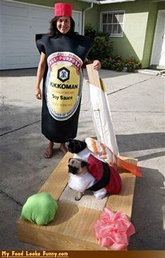 OMG! Soy sauce and doggie sushi costumes!