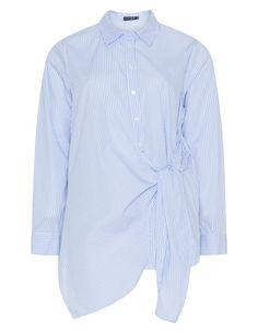 JETTE - Checked cotton tie detail shirt  - navabi