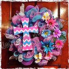 Hey, I found this really awesome Etsy listing at https://www.etsy.com/listing/176735875/chevron-cross-spring-easter-mesh-wreath