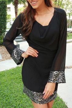 Stylish Cowl Neck Long Sleeve See-Through Voile Spliced Dress For Women (BLACK,XL) | Sammydress.com