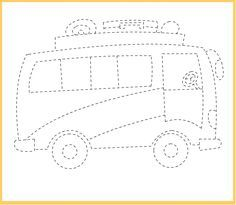 Free Tracing Line Printable Bus Picture      Crafts and Worksheets for Preschool,Toddler and Kindergarten