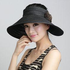 Summer straw hat for women with flower sun visor hats package design