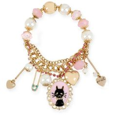 Betsey Johnson Pink Gold-Tone Cat Charm Stretch Bracelet ($38) ❤ liked on Polyvore featuring jewelry, bracelets, pink, heart bangle, chains jewelry, charm jewelry, cat charms and beaded bangles