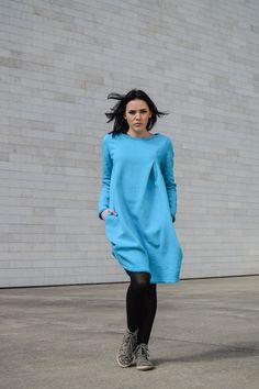 Turquoise dress // Ocean Blue Cotton Dress // Turquoise Sweatshirt Dress // Cozy and Warm // Heavy Duty // Perfect Gift! Warm Dresses, Cotton Dresses, Blue Dresses, Green Sweatpants, Drop Crotch Pants, Turquoise Dress, Belle Dress, Plus Size Pants, Loose Pants