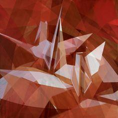 Orizuru No.20 - paper crane painting by Ryoko Tajiri 36 x 36 in  acrylic on canvas