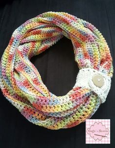 Infinity Scarf in 8 ply hand dyed cotton in rainbow unicorn. IG @craftsnreveries fb /craftsnreveries