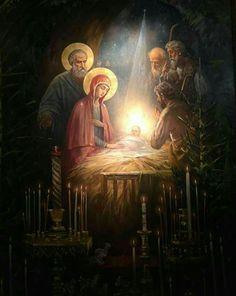 Religious Paintings, Religious Art, Origin Of Christmas, Nativity Painting, Christmas Cover, Amazing Paintings, Blessed Virgin Mary, Catholic Art, Christmas Nativity