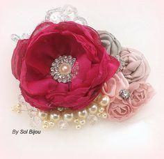 Pinza de pelo fucsia gris rosa Fascinator pinza de por SolBijou