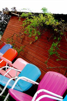 motel chairs ~ all different colors - lovely!