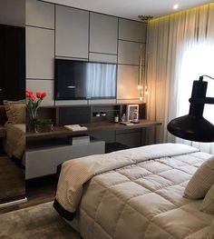 Tv In Bedroom, Dream Bedroom, Modern Bedroom, Master Bedroom, Bedroom Decor, Entertainment Wall Units, Small Spaces, Interior Design, Ideas