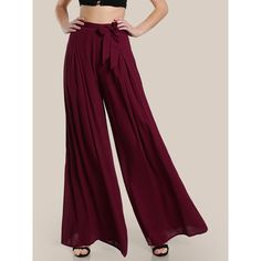 SheIn(sheinside) Self Tie Fold Pleated Palazzo Pants (5.495 HUF) ❤ liked on Polyvore featuring pants, burgundy, fold pants, wide leg pants, pleated wide leg pants, zipper pants and pleated palazzo pants