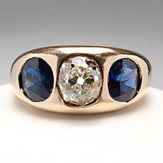 MENS ANTIQUE OLD MINE CUT DIAMOND & BLUE SAPPHIRE RING 14K GOLD