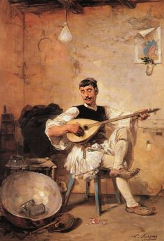 """the lute player"" Nikiforos Lytras - Greek painter Greek Paintings, Oil Paintings, National Gallery, National Art, Art Through The Ages, Greek History, Greek Music, Greek Art, Chiaroscuro"