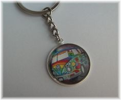 Schlüsselanhänger - 1 Schlüsselring Anhänger groß - Hippie Bus - ein Designerstück von die-deko-werkstatt bei DaWanda